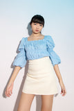 Courtney Puffed Sleeve Top in Powder Blue - Three One Duo