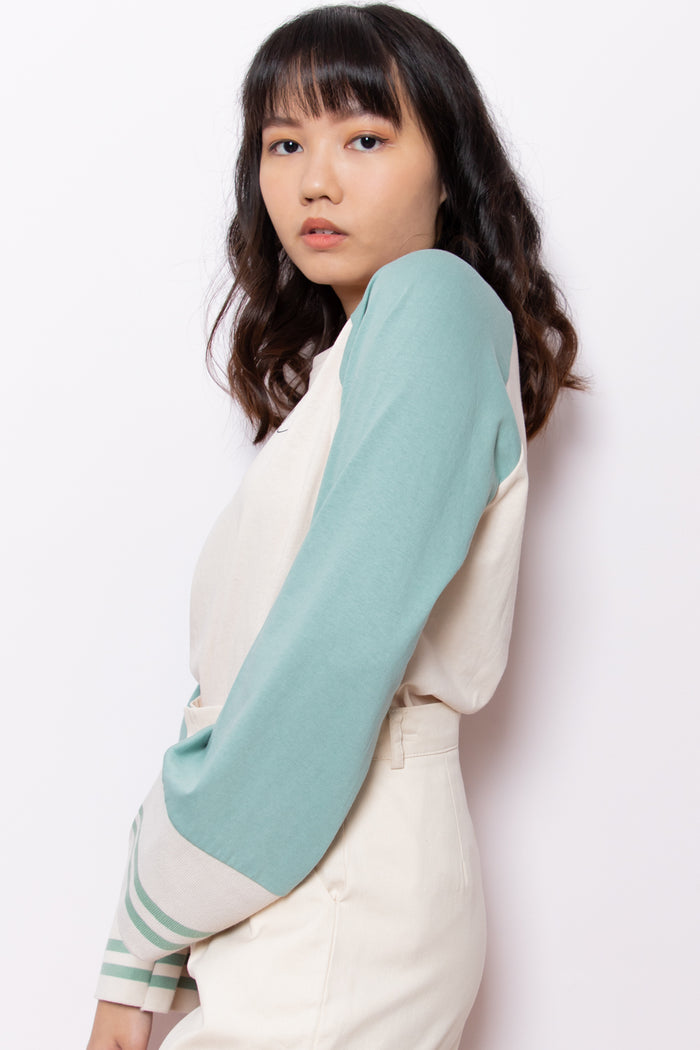 One Of A Kind Contrast Sleeve Top in Turquoise - Three One Duo