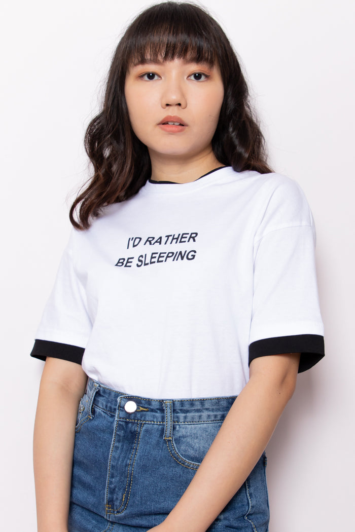I'd Rather Be Sleeping Graphic Slogan Tee in White - Three One Duo