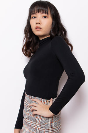 Mia High Neck Long Sleeve Top in Black - Three One Duo
