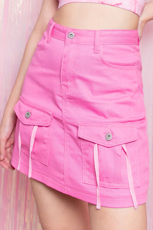 Elianna Double Pocket Denim Skirt in Pink - Three One Duo