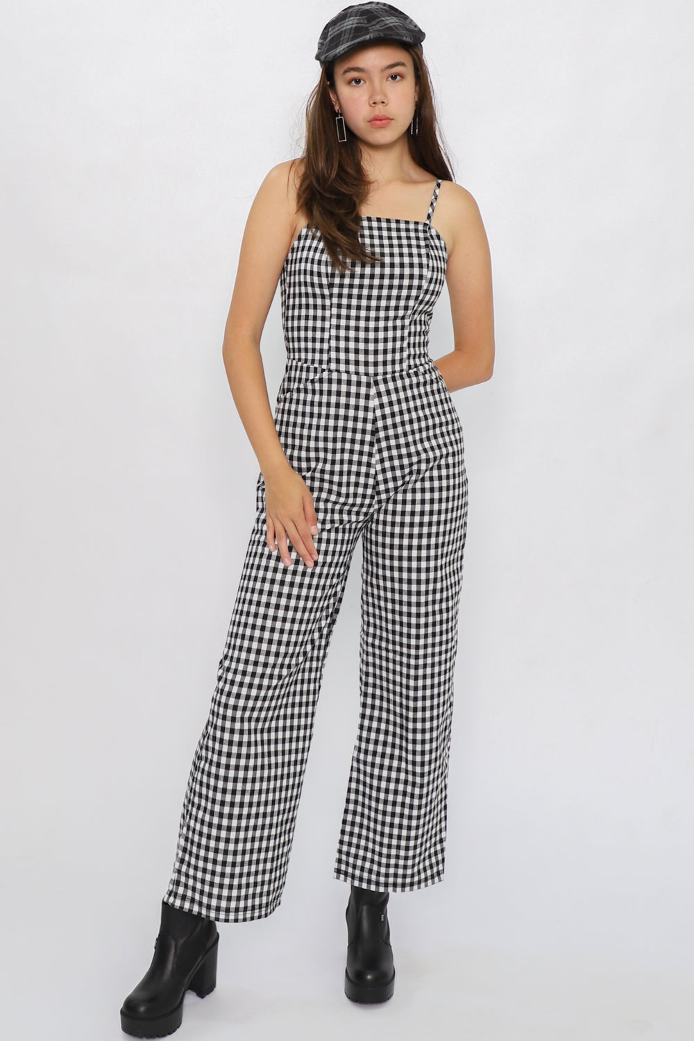 Finley Gingham Jumpsuit in Black - Three One Duo