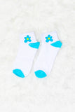 Sage Flower Print Socks in Teal