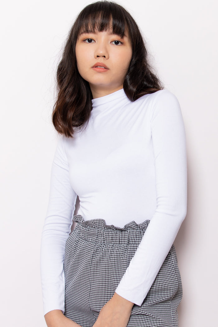 Mia High Neck Long Sleeve Top in White - Three One Duo