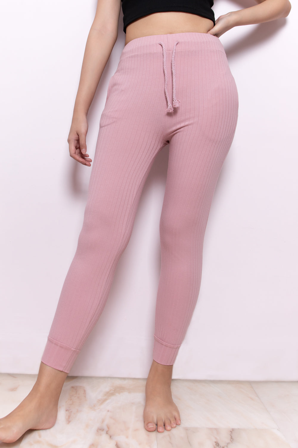Claire Essential Ribbed Cuffed Hem Joggers in Pink - Three One Duo