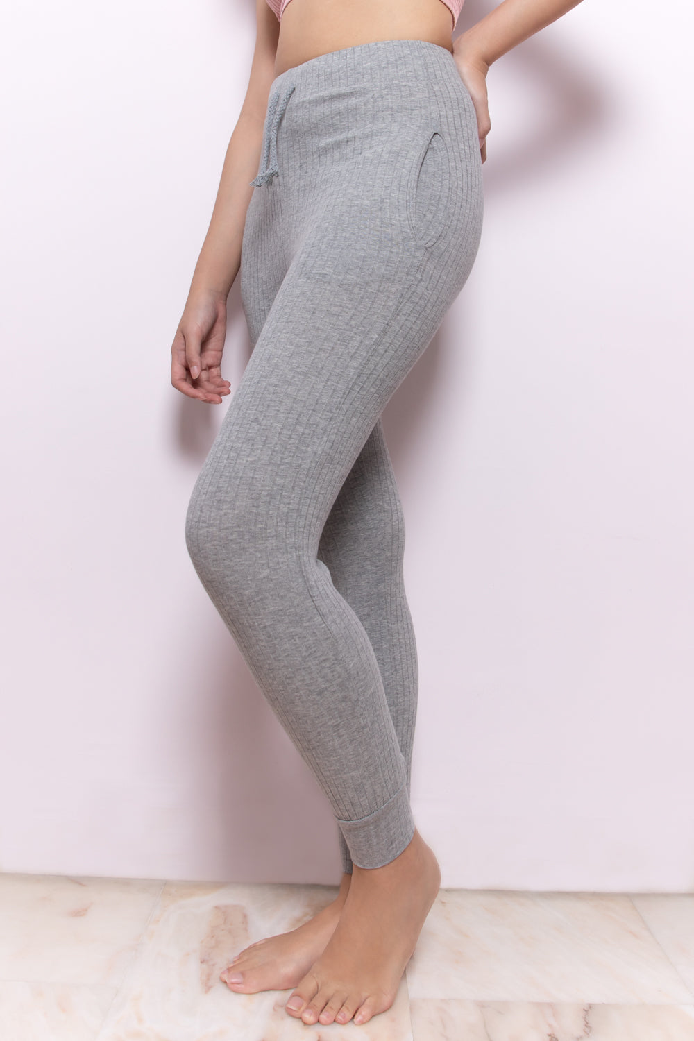 Claire Essential Ribbed Cuffed Hem Joggers in Grey - Three One Duo