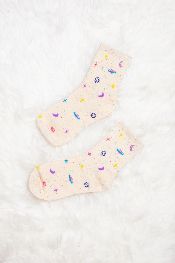 Athena Galaxy Print Socks in Cream