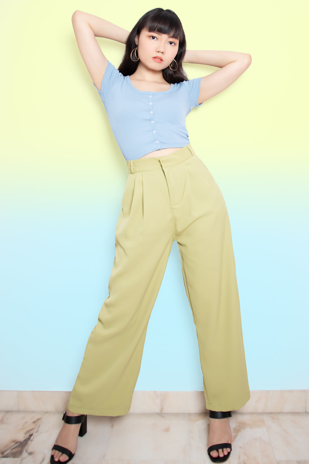 Jade Flare Long Pants in Sage
