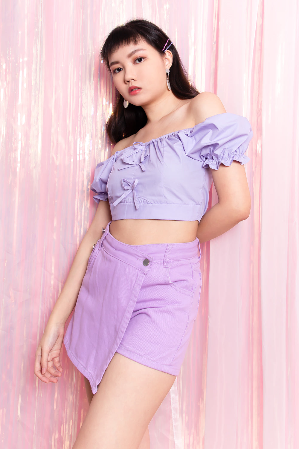 Roselle Ribbon Puffed Sleeve Top in Lilac - Three One Duo