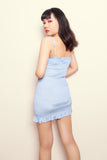 Ashley Smocked Ruffle Dress in Powder Blue