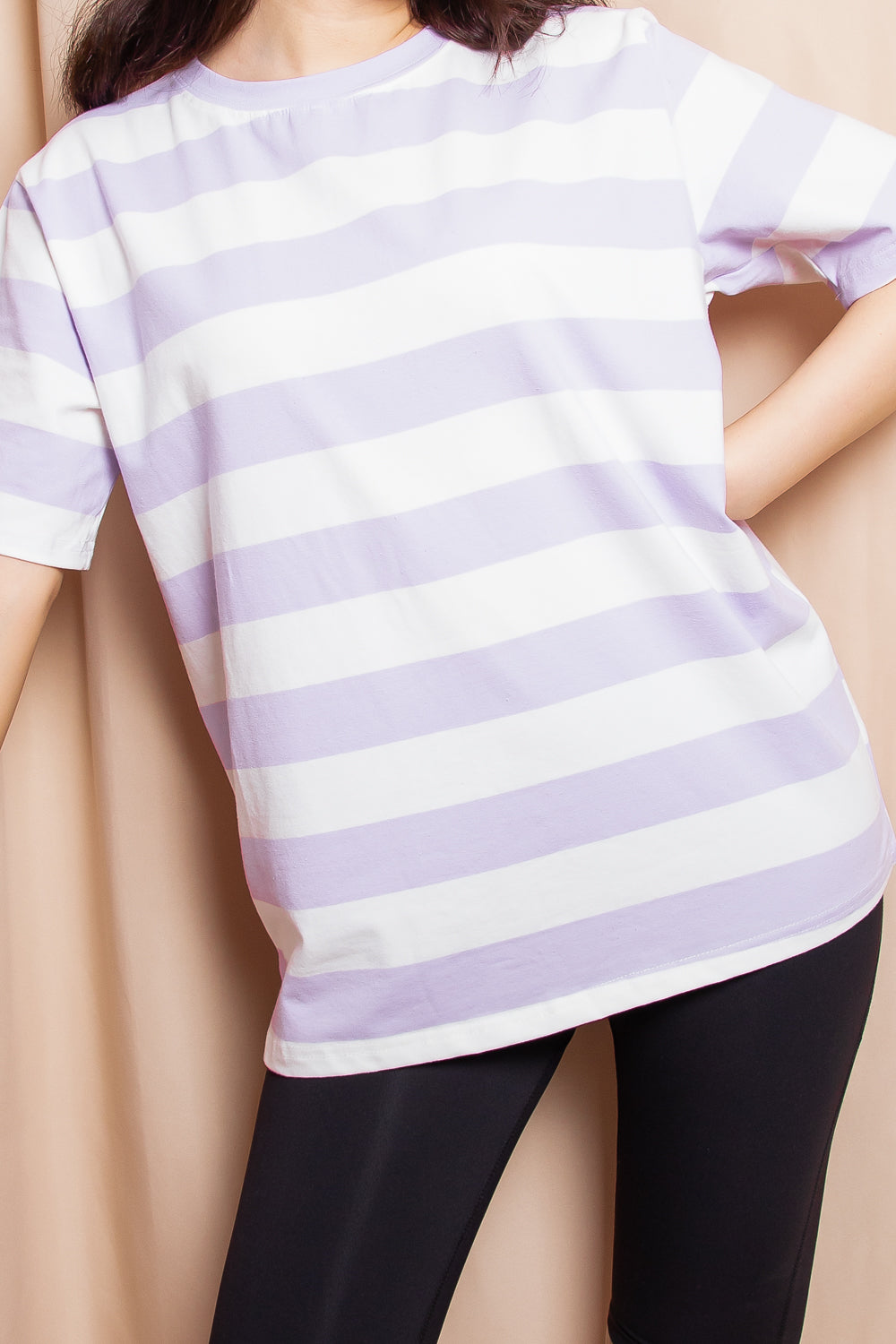 Hayden Striped Graphic Tee in Lilac