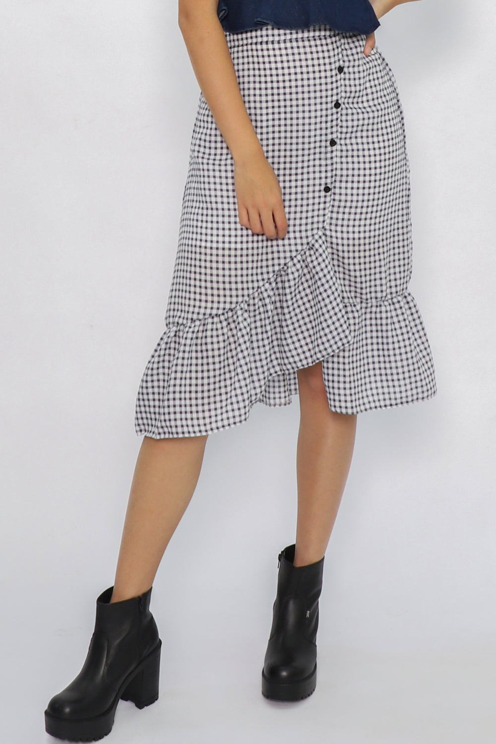 Erin Asymmetric Checkered Ruffle Skirt in Navy - Three One Duo