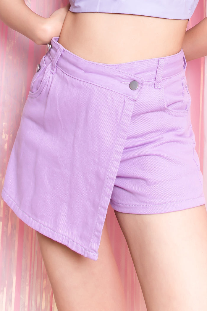 Kaelyn Denim Foldover Skorts in Lilac - Three One Duo