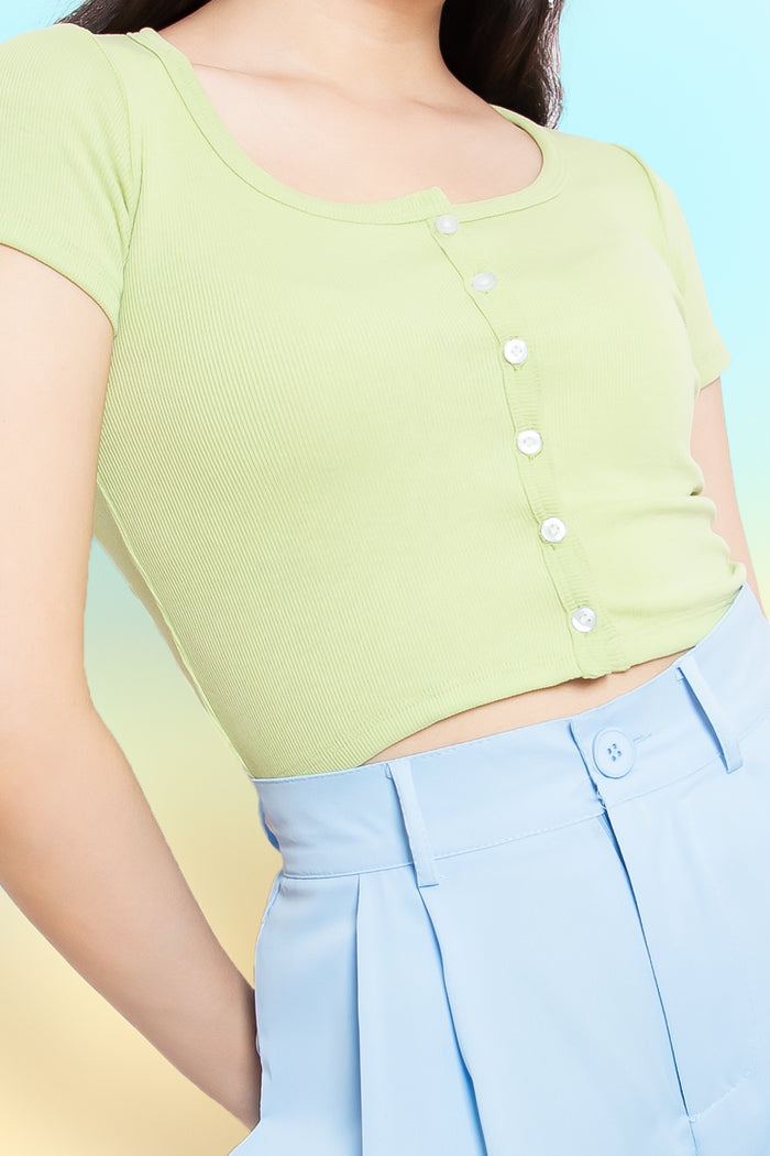Heather Button Down Top in Lime