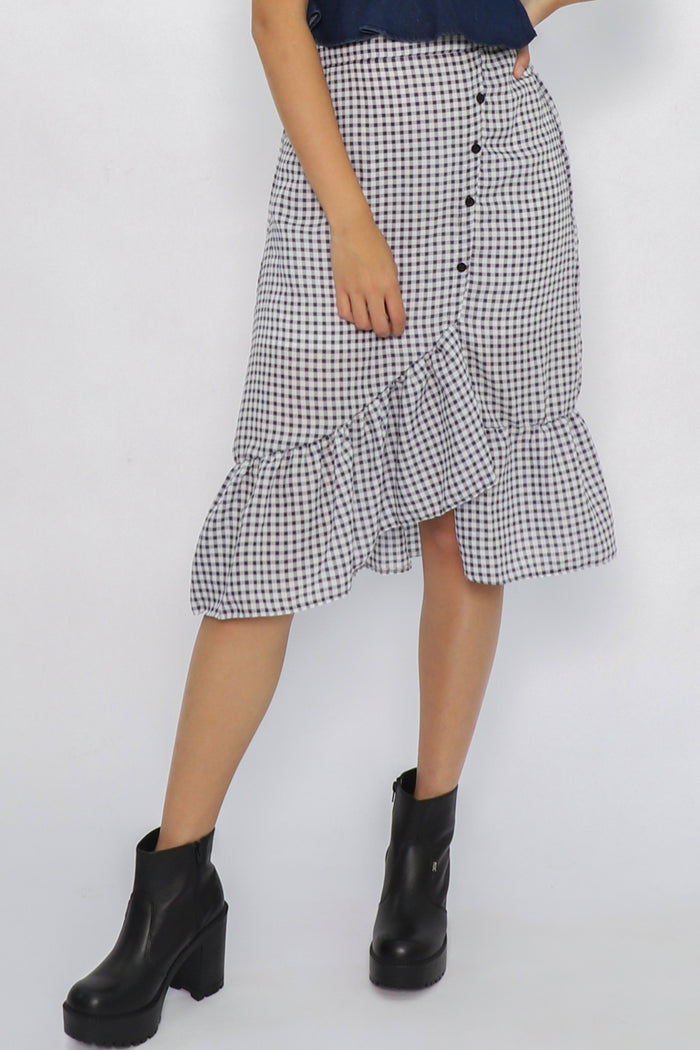Erin Asymmetric Checkered Ruffle Skirt - Three One Duo
