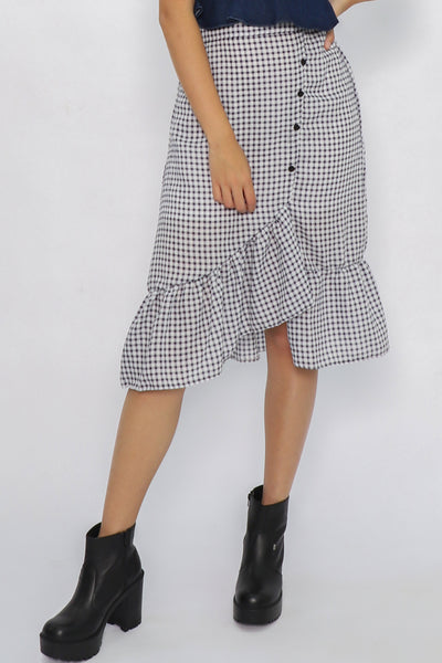 Erin Asymmetric Checkered Ruffle Skirt