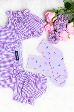 Athena Galaxy Print Socks in Lilac
