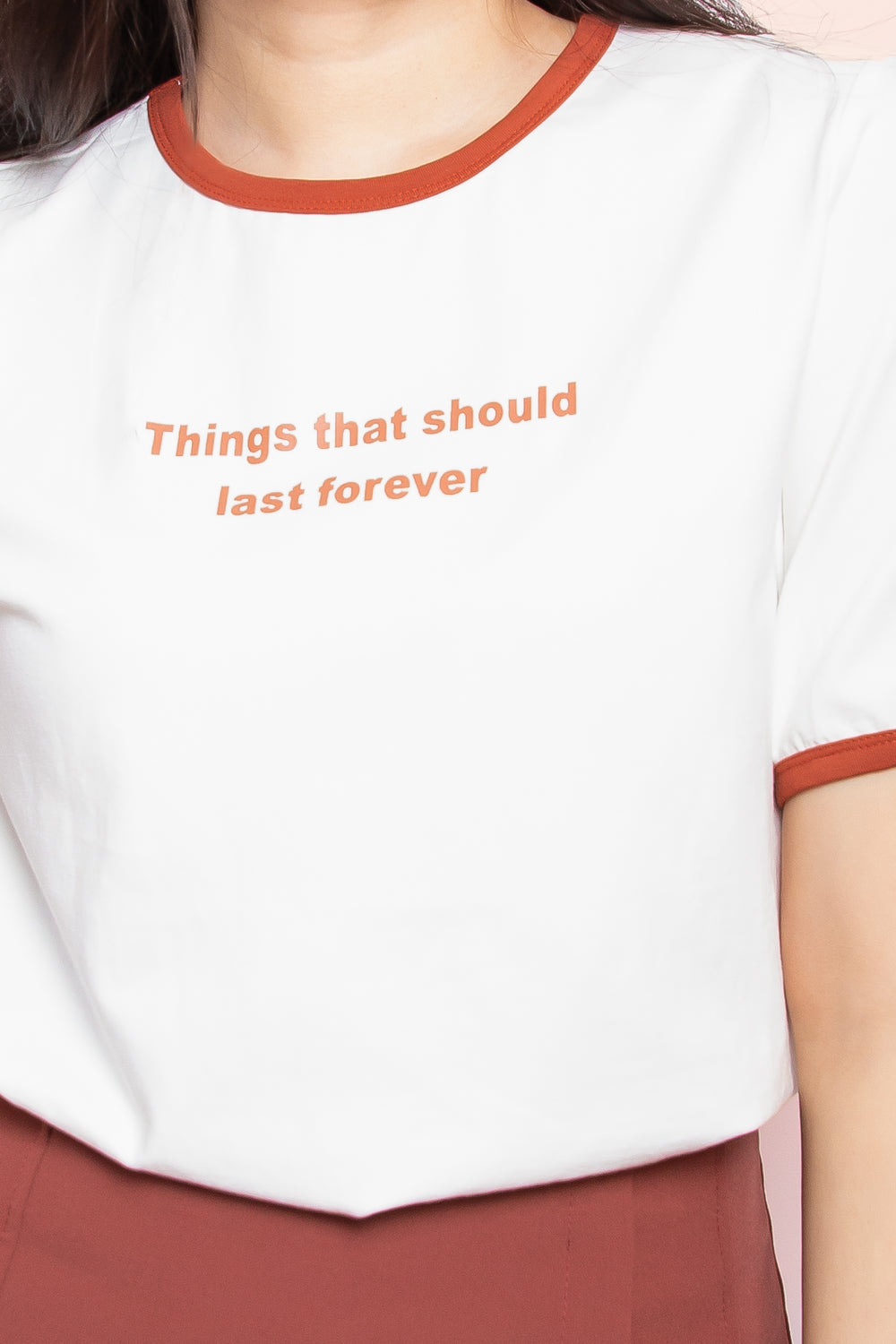 Things That Should Last Forever Ringer Tee in White