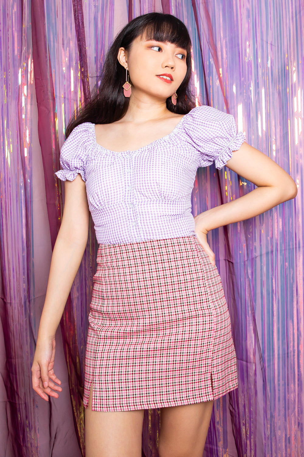 Callie Gingham Puffed Sleeve Top in Lilac