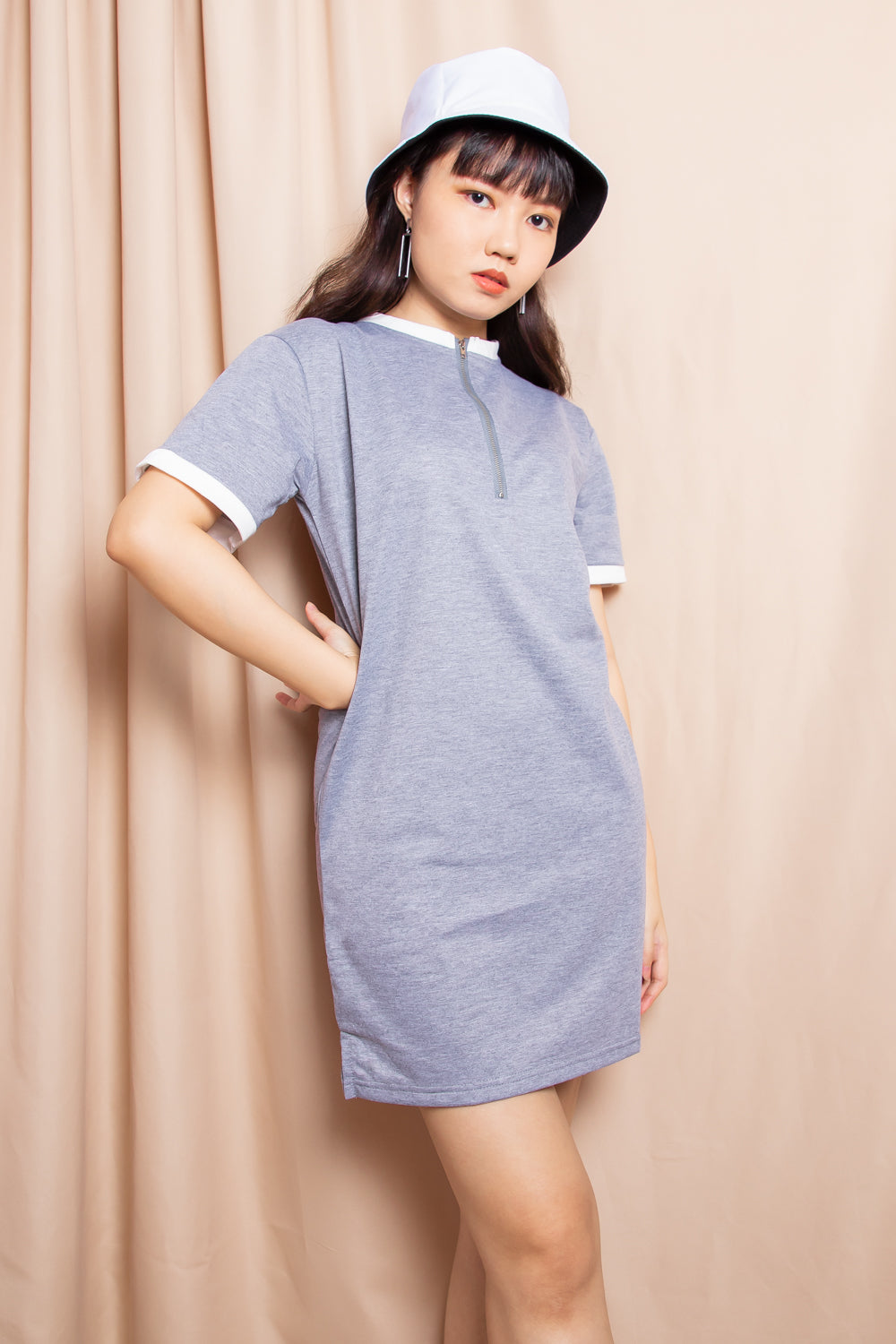 Remington Polo Shirt Dress in Grey