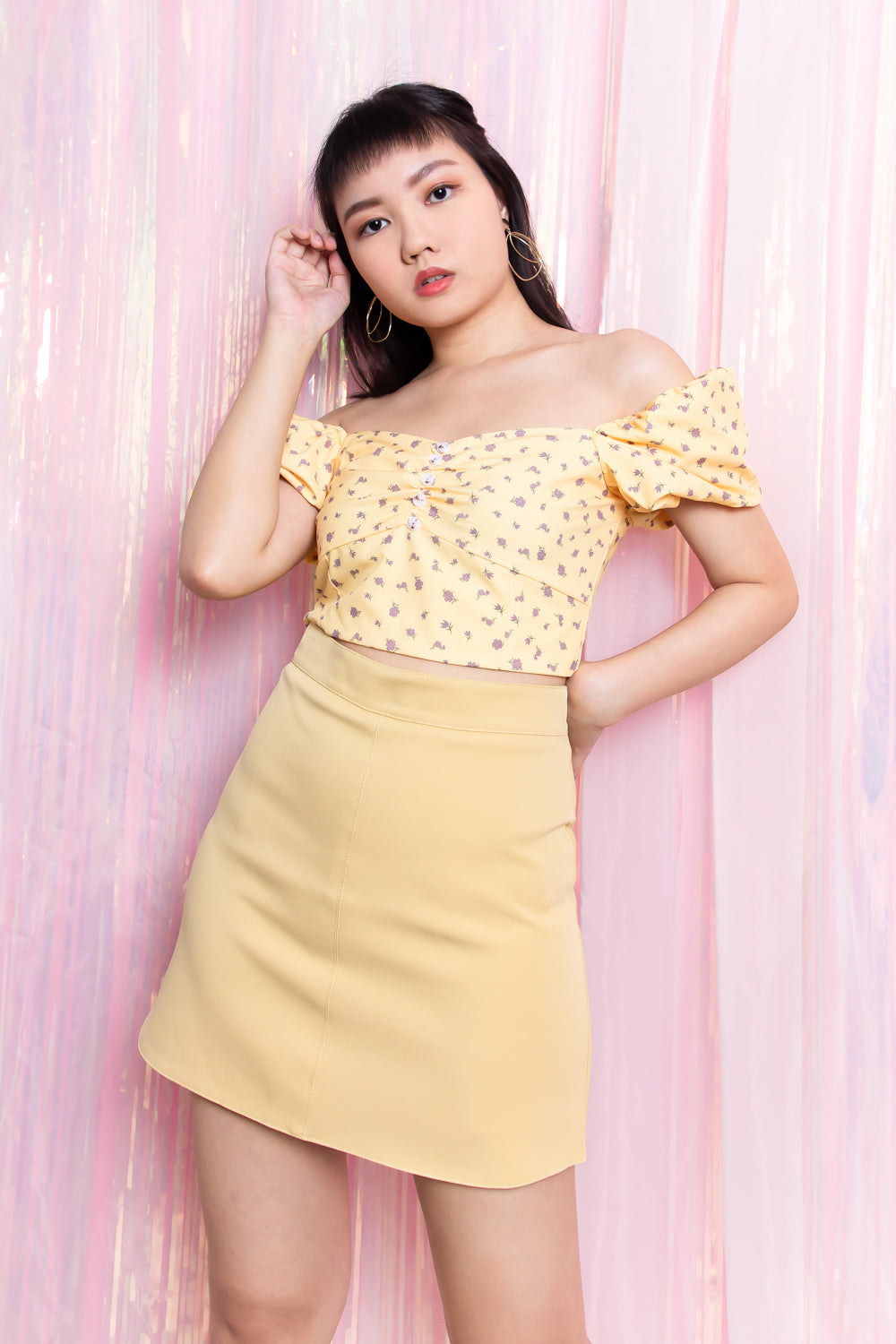 Isabelle Floral Puffed Sleeve Top in Yellow - Three One Duo