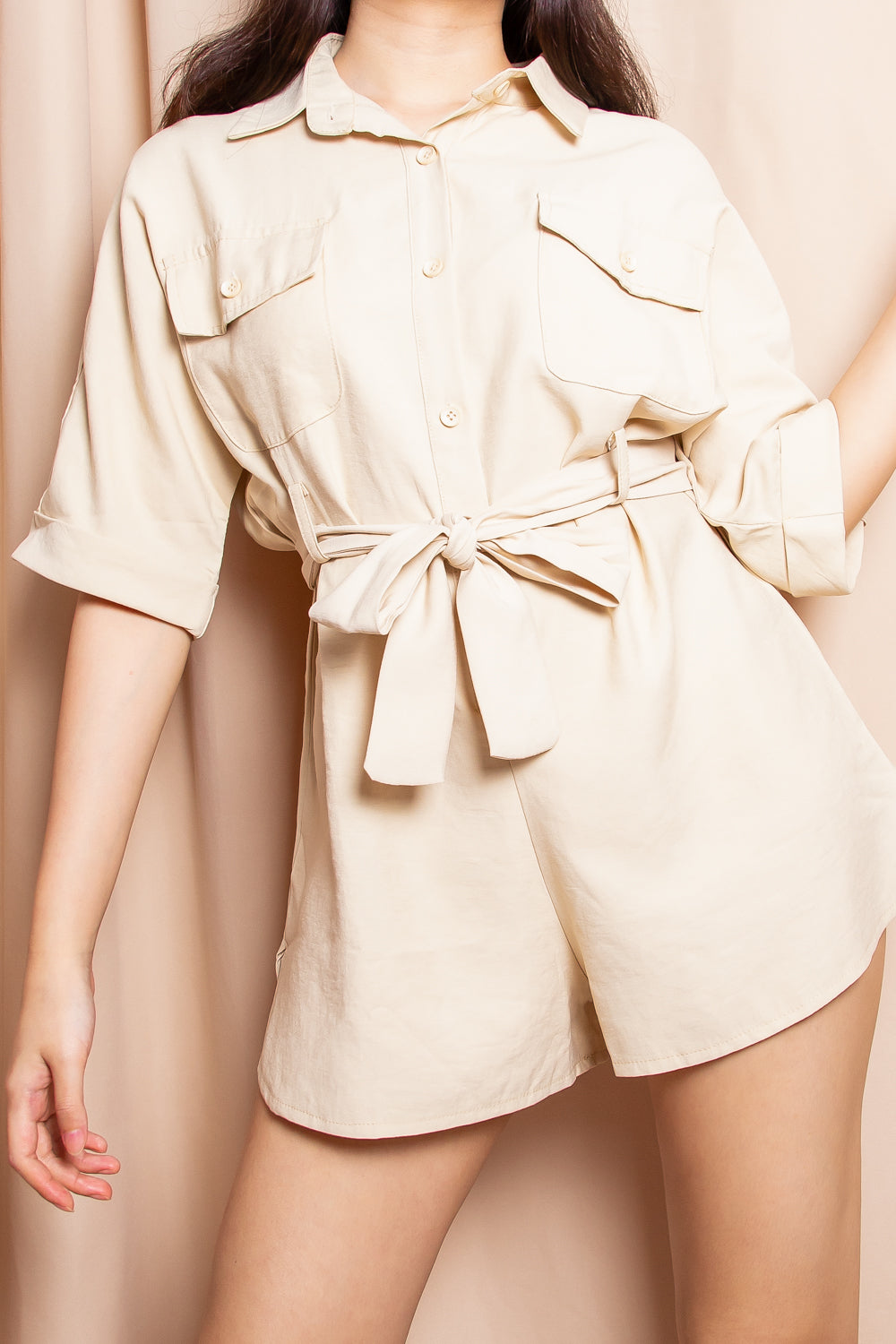 Brooklyn Utility Romper in Sand