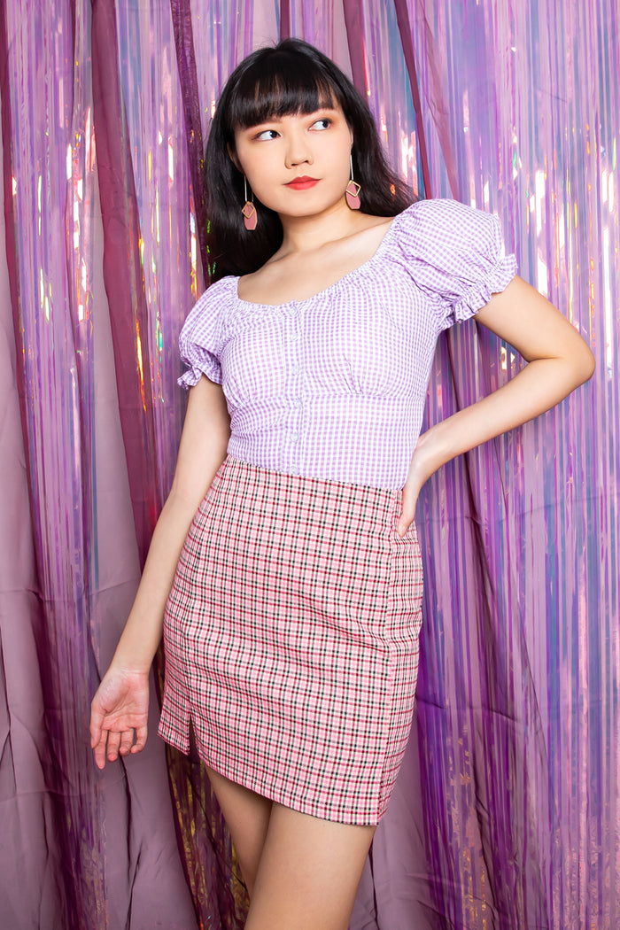 Hannah Checkered A-Line Skirt in Pink