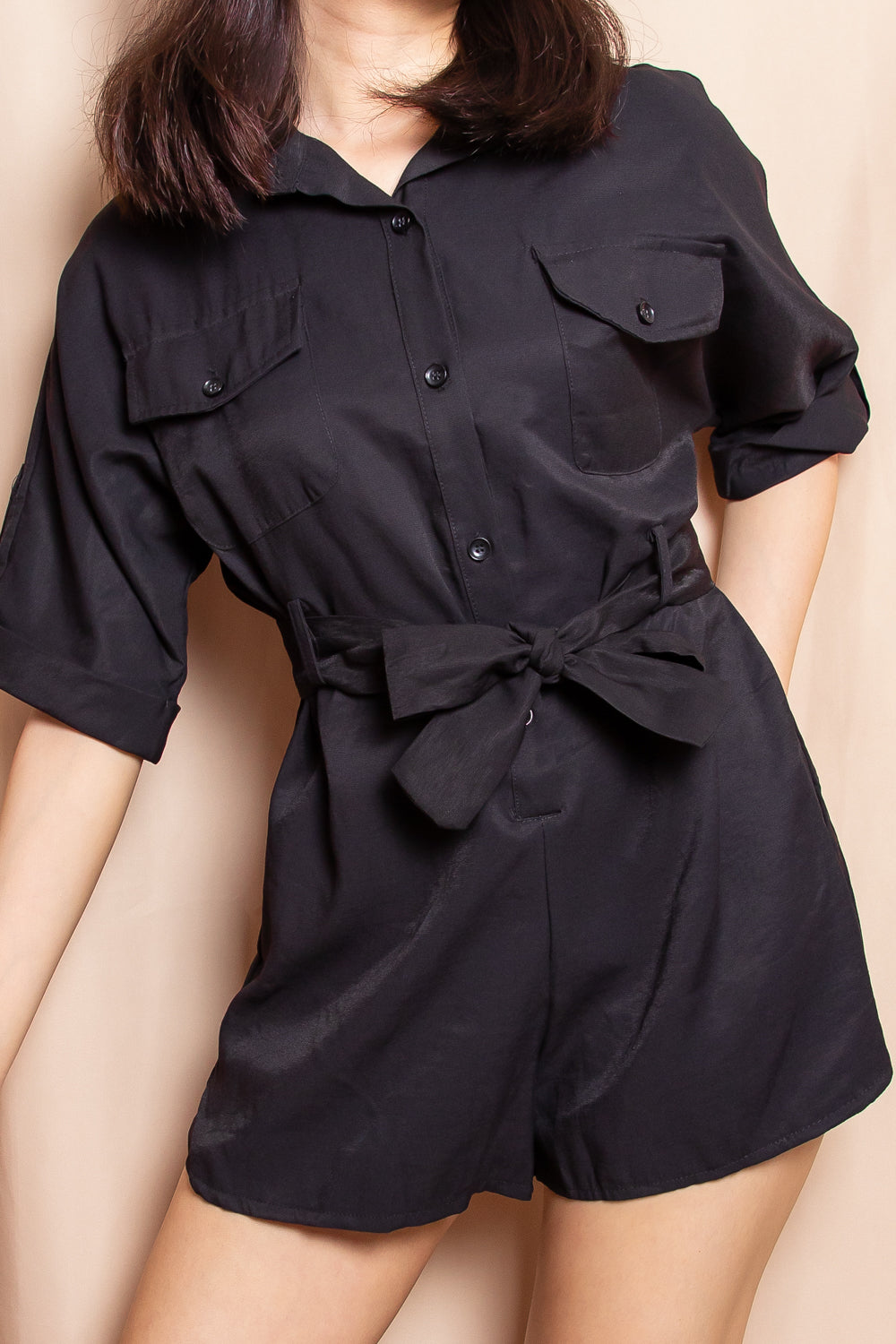 Brooklyn Utility Romper in Black