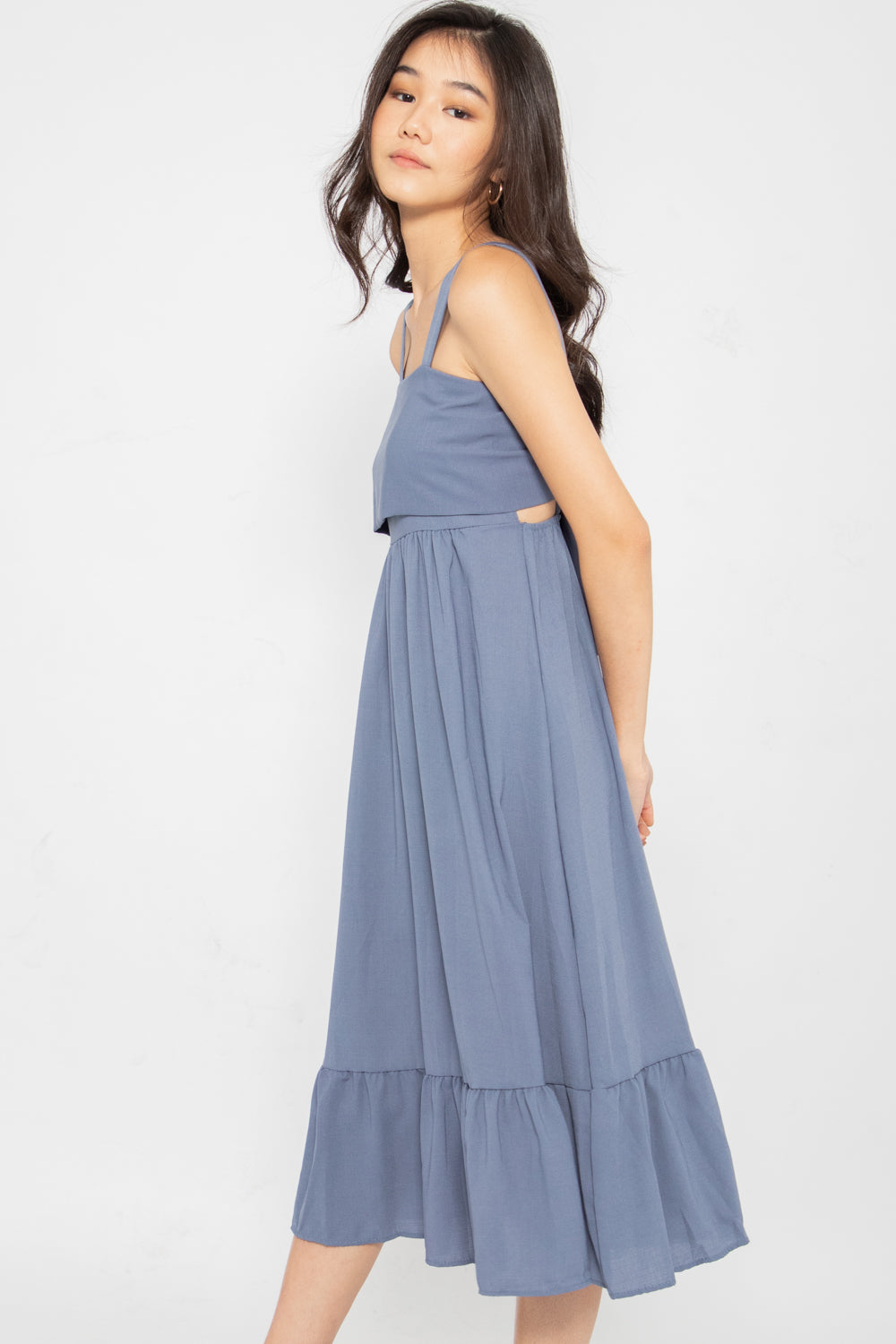 Kyleigh Tie Back Ruffle Dress in Slate Blue - Three One Duo