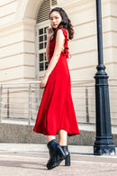 Claudia Ruffle Flare Midi Dress in Red - Three One Duo