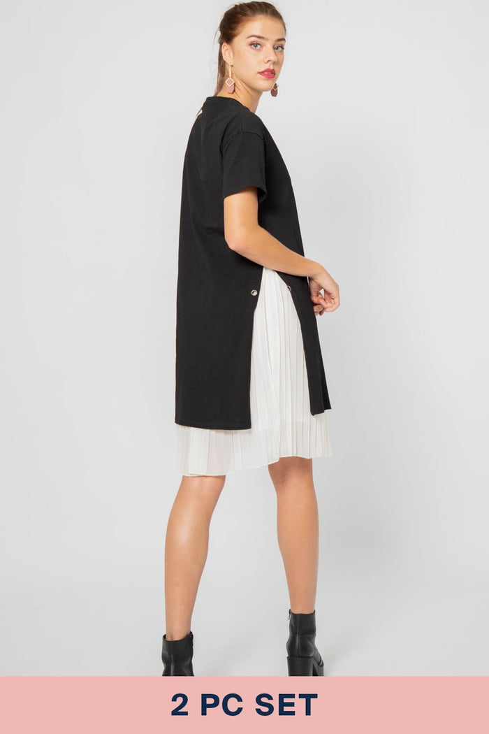 Lana Hidden Pleated Dress in Black and White - Three One Duo