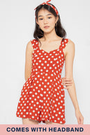 Minnie Polka Dot Romper Set in Rust - Three One Duo