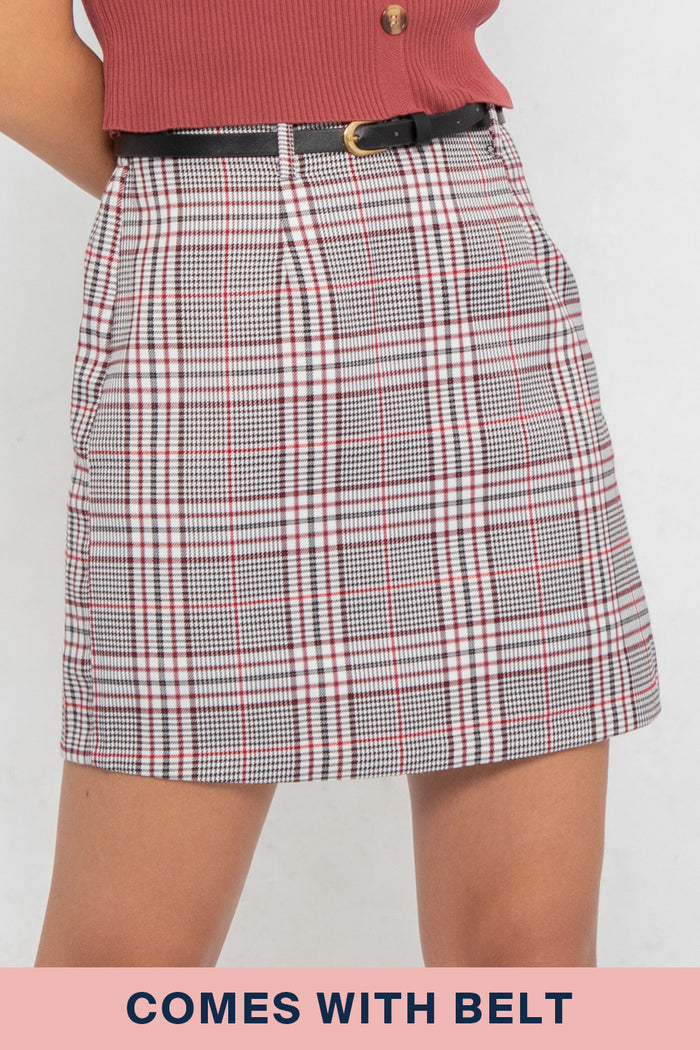 Peyton Checkered A-Line Wrap Skorts in Grey Plaids - Three One Duo