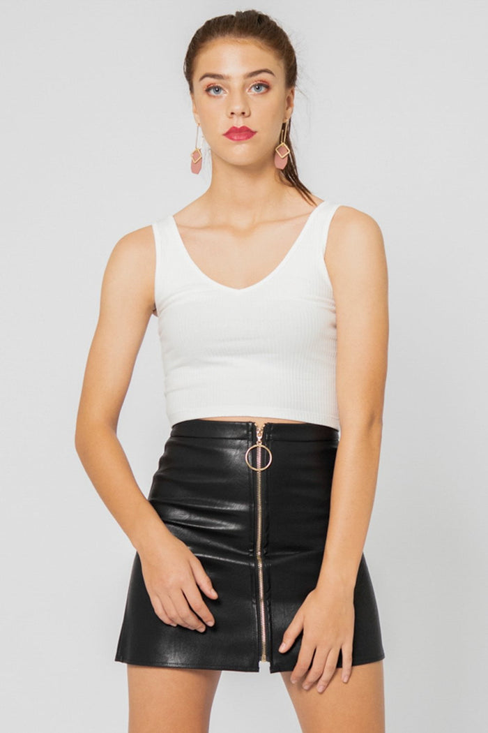 Harper Exposed Zip Leather Skirt in Black - Three One Duo