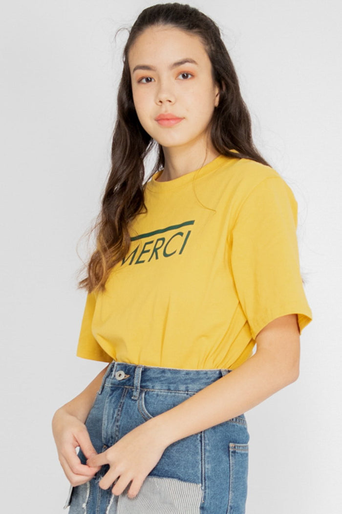 *Restocked* Merci Graphic Tee in Yellow - Three One Duo