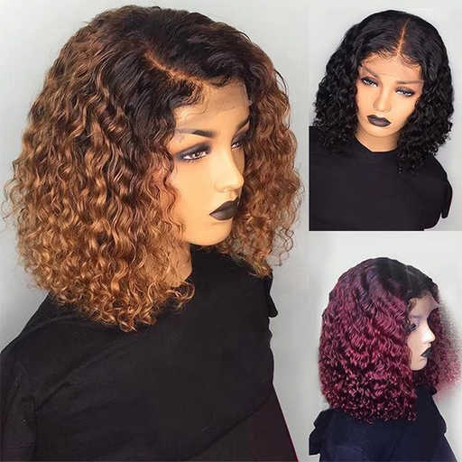 SHORT CURLY LACE FRONT HUMAN HAIR WIGS