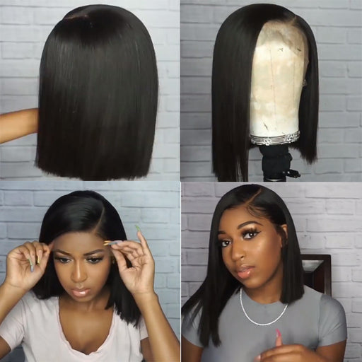 Short Lace Front Human Hair Wigs Bob Wig Full and Thick For Black Women Natural Color Brazilian Remy Hair