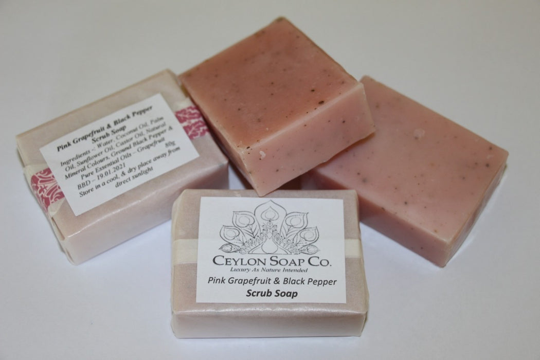 Pink Grapefruit & Black Pepper Scrub Soap - 80g