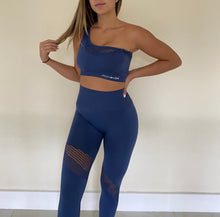 Load image into Gallery viewer, Off The Shoulder Leggings Set Navy Blue