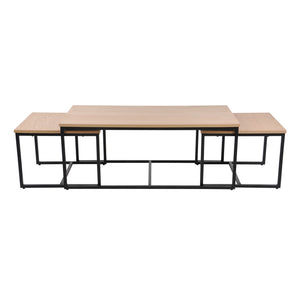 Daly coffee table set of 3, oak veneer