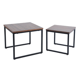 Daly II Nested Square Table set, walnut veneer