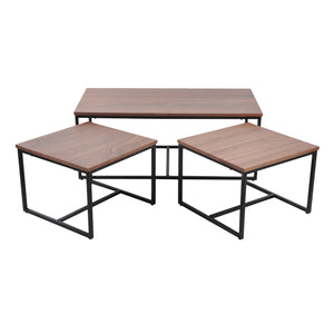Daly II coffee table set of 3, walnut veneer