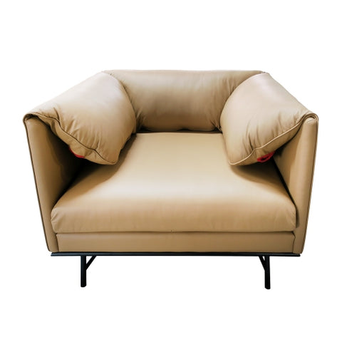 As-Is, 1 seater leather sofa, 92.5x81x79 cm- Display Piece