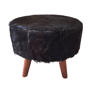 Paotere Stool with Natural Goat Hide