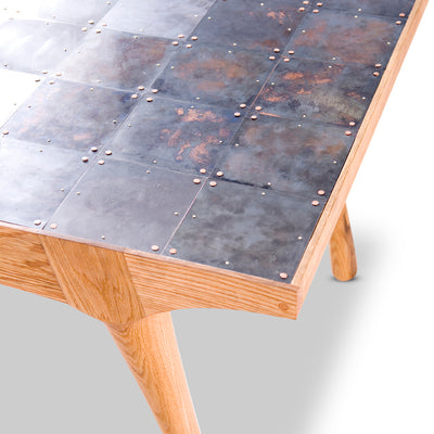 Little Miss Fat Rectangular Copper Top Dining Table