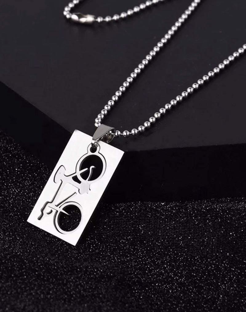 Bicycle Dog Tag Charm with Necklace