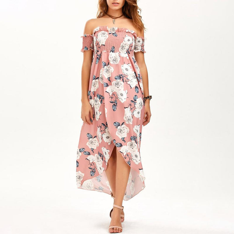Off Shoulder Shirred Slit Floral Maxi Dress - PAPA BEAR HOME