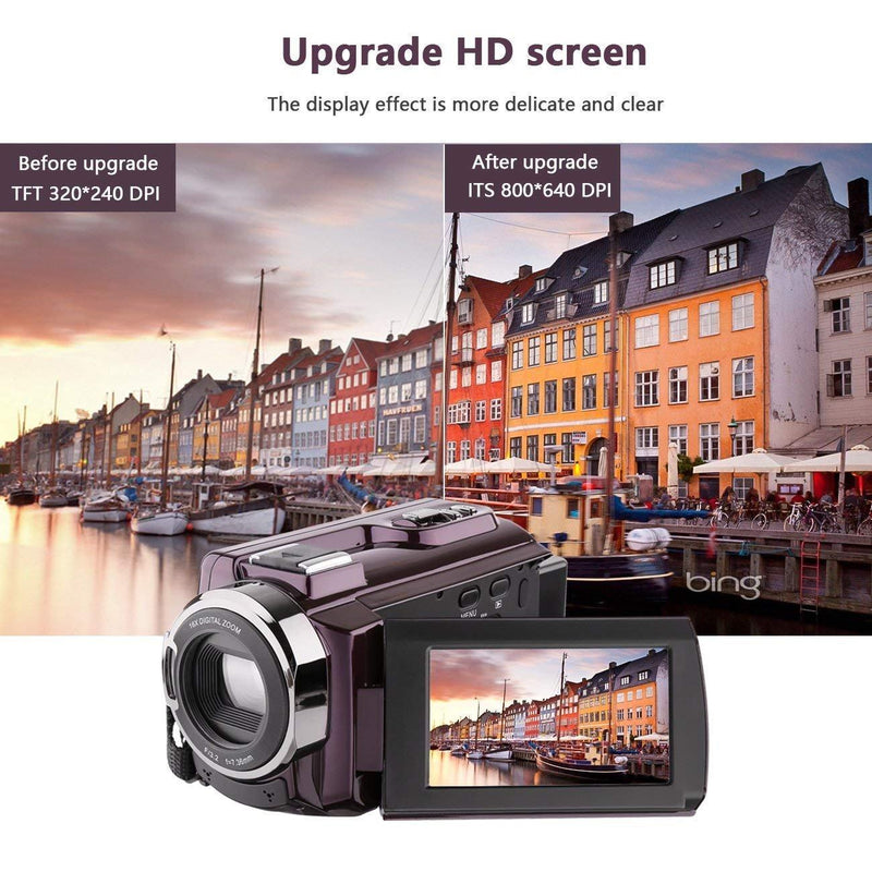 Upgrade 4K Ultra-HD Portable 30FPS WiFi IR Night Vision 3.0 Touch Screen Camcorder with Wide Angle Lens (Include Microphone) - PAPA BEAR HOME