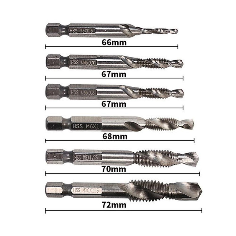 M3 - M10 Metric Tap Drill Bits 6PCS - Silver Metric - PAPA BEAR HOME