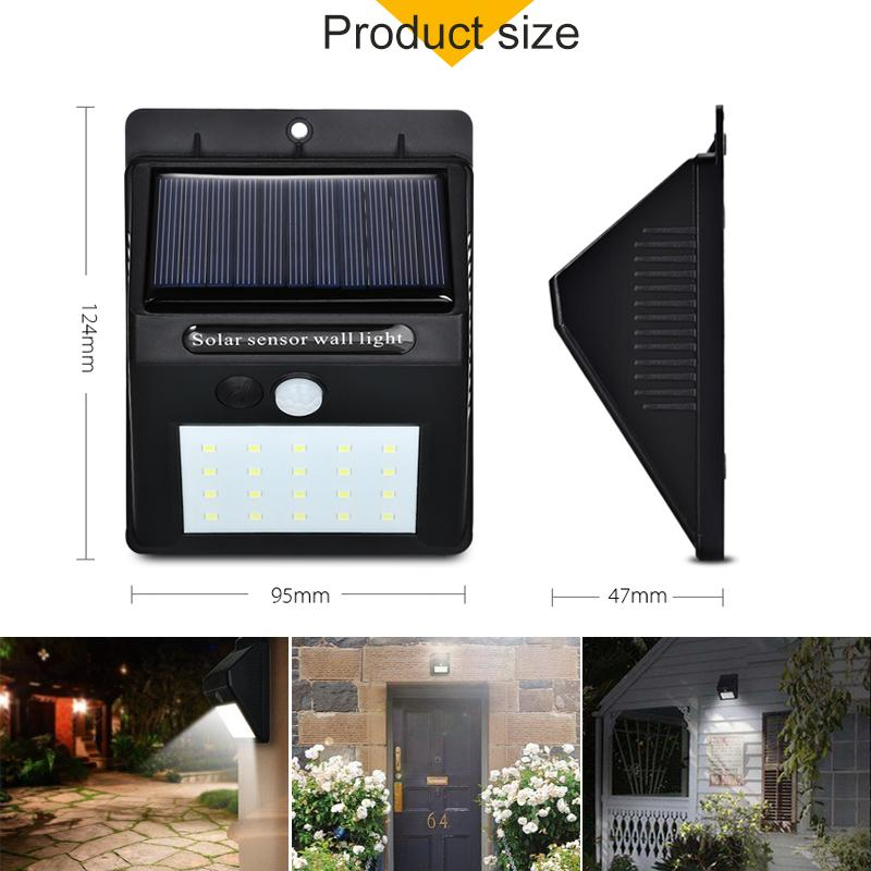 20 LED Solar Lamps Outdoor, Super Bright Wall Lamp with Motion Sensor - PAPA BEAR HOME